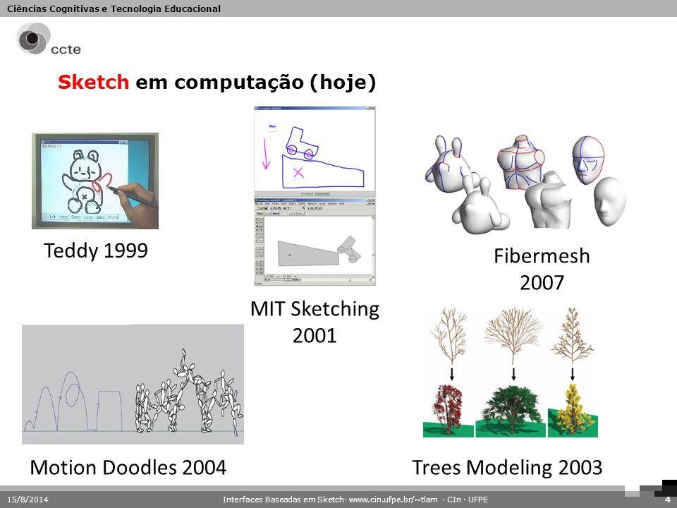 Ciências Cognitivas e Tecnologia Educacional 15/8/20144 Sketch em computação (hoje) Fibermesh 2007 Teddy 1999 MIT Sketching 2001 Motion Doodles 2004Tr