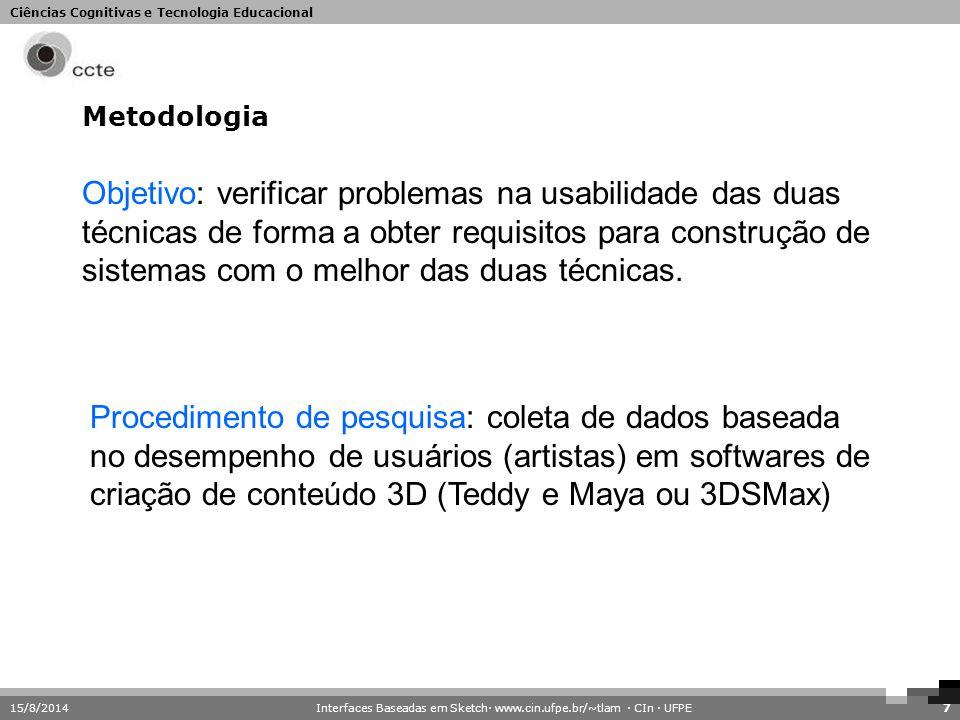 Ciências Cognitivas e Tecnologia Educacional Metodologia 15/8/20147 Objetivo: verificar problemas na usabilidade das duas técnicas de forma a obter re