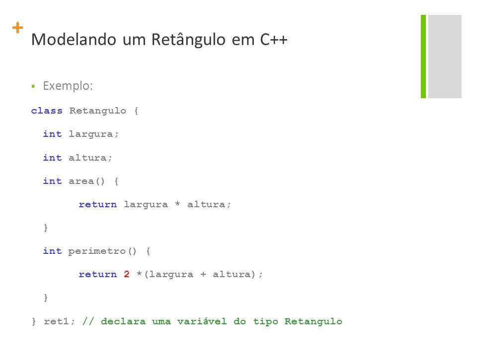 + Modelando um Retângulo em C++  Exemplo: class Retangulo { int largura; int altura; int area() { return largura * altura; } int perimetro() { return 2 *(largura + altura); } } ret1; // declara uma vari á vel do tipo Retangulo