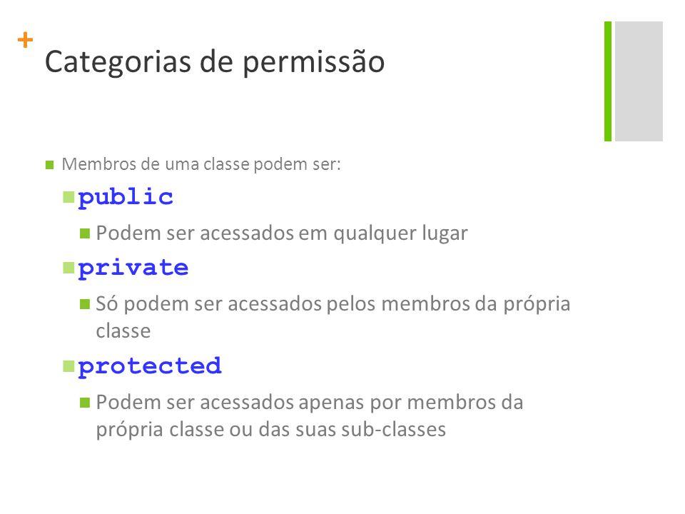 + Categorias de permissão Membros de uma classe podem ser: public Podem ser acessados em qualquer lugar private Só podem ser acessados pelos membros da própria classe protected Podem ser acessados apenas por membros da própria classe ou das suas sub-classes