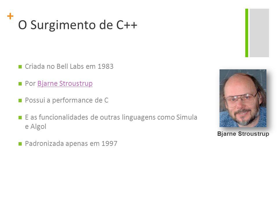 + O Surgimento de C++ Criada no Bell Labs em 1983 Por Bjarne StroustrupBjarne Stroustrup Possui a performance de C E as funcionalidades de outras linguagens como Simula e Algol Padronizada apenas em 1997 Bjarne Stroustrup