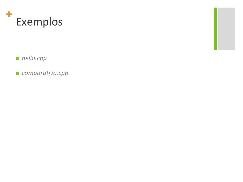 + Exemplos hello.cpp comparativo.cpp
