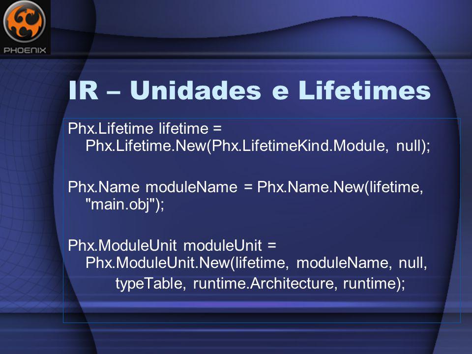 IR – Unidades e Lifetimes Phx.Lifetime lifetime = Phx.Lifetime.New(Phx.LifetimeKind.Module, null); Phx.Name moduleName = Phx.Name.New(lifetime, main.obj ); Phx.ModuleUnit moduleUnit = Phx.ModuleUnit.New(lifetime, moduleName, null, typeTable, runtime.Architecture, runtime);