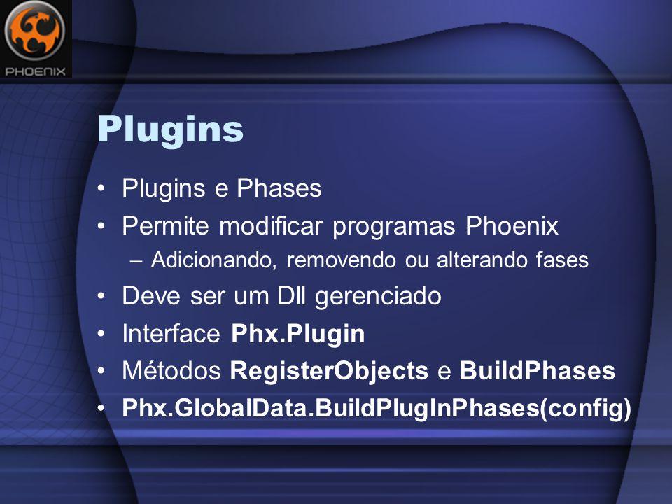 Plugins Plugins e Phases Permite modificar programas Phoenix –Adicionando, removendo ou alterando fases Deve ser um Dll gerenciado Interface Phx.Plugin Métodos RegisterObjects e BuildPhases Phx.GlobalData.BuildPlugInPhases(config)