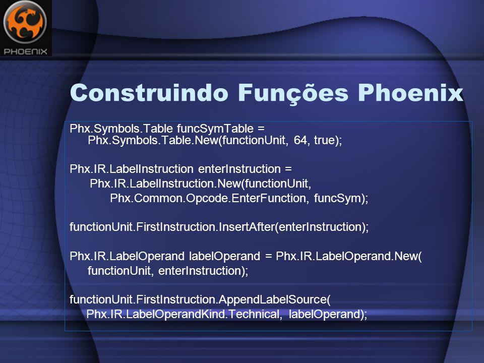Construindo Funções Phoenix Phx.Symbols.Table funcSymTable = Phx.Symbols.Table.New(functionUnit, 64, true); Phx.IR.LabelInstruction enterInstruction = Phx.IR.LabelInstruction.New(functionUnit, Phx.Common.Opcode.EnterFunction, funcSym); functionUnit.FirstInstruction.InsertAfter(enterInstruction); Phx.IR.LabelOperand labelOperand = Phx.IR.LabelOperand.New( functionUnit, enterInstruction); functionUnit.FirstInstruction.AppendLabelSource( Phx.IR.LabelOperandKind.Technical, labelOperand);