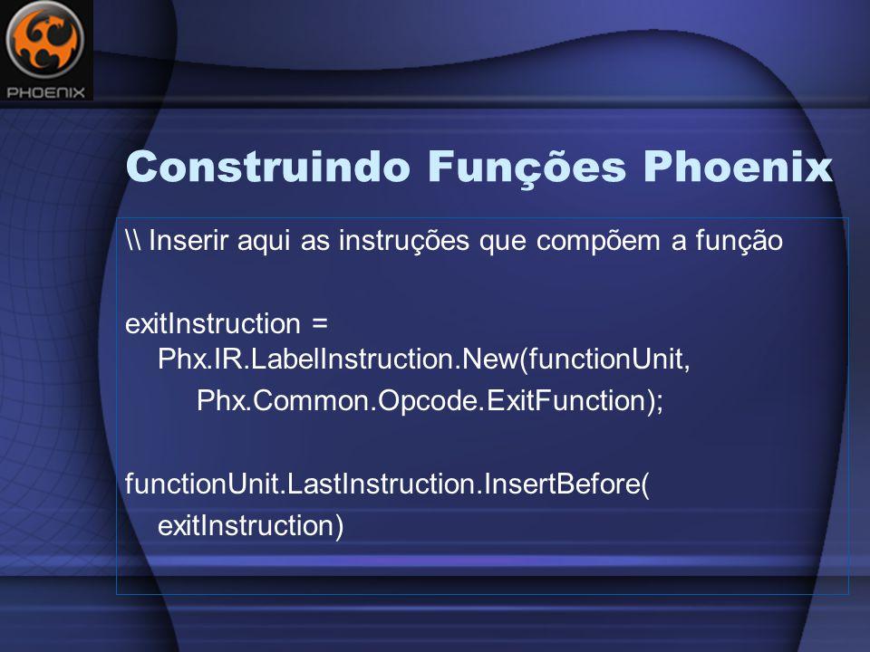 Construindo Funções Phoenix \\ Inserir aqui as instruções que compõem a função exitInstruction = Phx.IR.LabelInstruction.New(functionUnit, Phx.Common.Opcode.ExitFunction); functionUnit.LastInstruction.InsertBefore( exitInstruction)