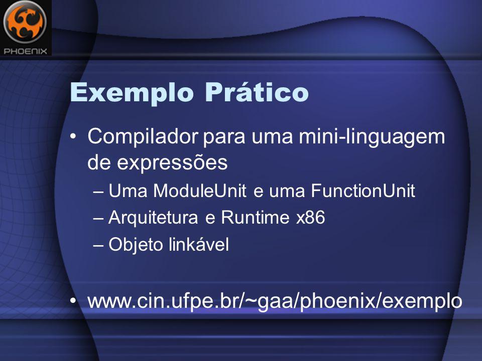 Exemplo Prático Compilador para uma mini-linguagem de expressões –Uma ModuleUnit e uma FunctionUnit –Arquitetura e Runtime x86 –Objeto linkável www.cin.ufpe.br/~gaa/phoenix/exemplo