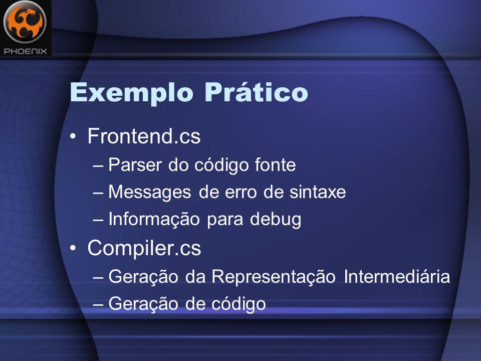 Exemplo Prático Frontend.cs –Parser do código fonte –Messages de erro de sintaxe –Informação para debug Compiler.cs –Geração da Representação Intermediária –Geração de código