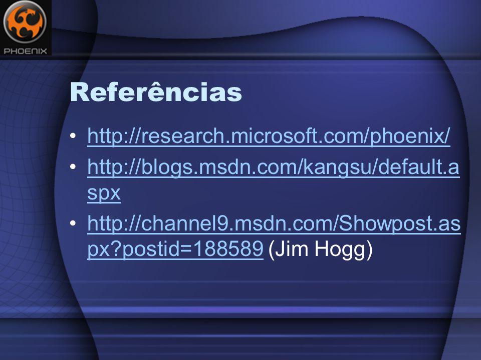 Referências http://research.microsoft.com/phoenix/ http://blogs.msdn.com/kangsu/default.a spxhttp://blogs.msdn.com/kangsu/default.a spx http://channel9.msdn.com/Showpost.as px?postid=188589 (Jim Hogg)http://channel9.msdn.com/Showpost.as px?postid=188589