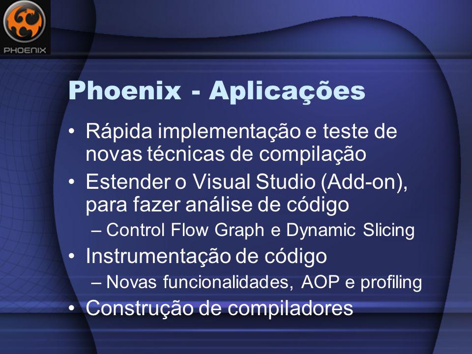 Construindo Funções Phoenix Phx.Types.FunctionType funcType = typeTable.GetFunctionType( Phx.Types.CallingConventionKind.CDecl, intType, null, null, null, null); funcSym = Phx.Symbols.FunctionSymbol.New( moduleSymbolTable, 0, Phx.Name.New(lifetime, _main ), funcType, Phx.Symbols.Visibility.GlobalDefinition); Phx.Lifetime funcLifetime = Phx.Lifetime.New(Phx.LifetimeKind.Function, moduleUnit); functionUnit = Phx.FunctionUnit.New(funcLifetime, funcSym, Phx.CodeGenerationMode.Native, typeTable, moduleUnit.Architecture, moduleUnit.Runtime, moduleUnit, 1);
