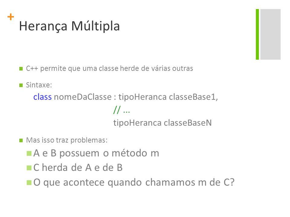 + Herança Múltipla C++ permite que uma classe herde de várias outras Sintaxe: class nomeDaClasse : tipoHeranca classeBase1, //...