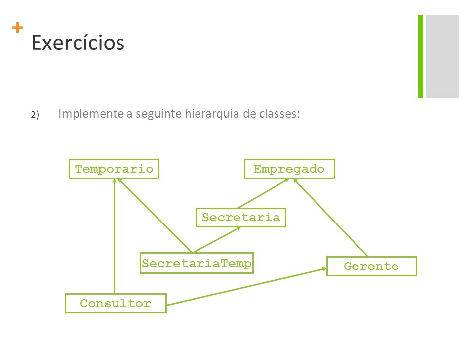 + Exercícios 2) Implemente a seguinte hierarquia de classes: Empregado Secretaria Gerente SecretariaTemp Temporario Consultor