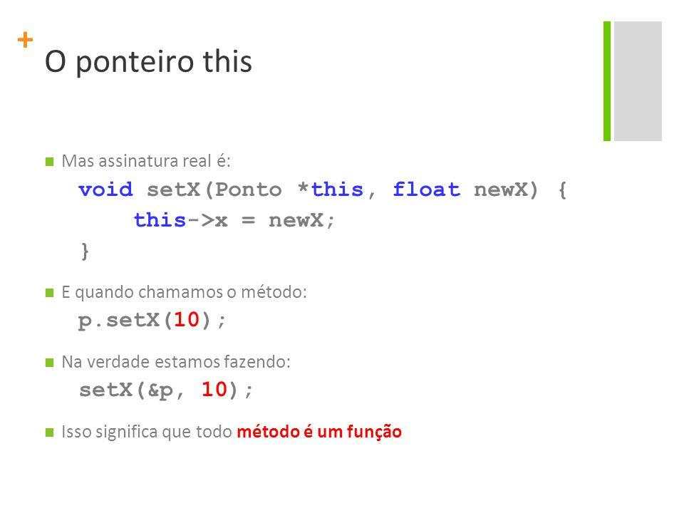 + O ponteiro this Mas assinatura real é: void setX(Ponto *this, float newX) { this->x = newX; } E quando chamamos o método: p.setX(10); Na verdade estamos fazendo: setX(&p, 10); Isso significa que todo método é um função