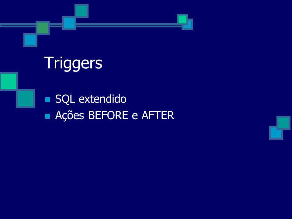 Triggers SQL extendido Ações BEFORE e AFTER