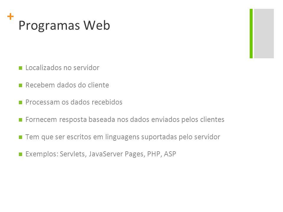 + Programas Web Localizados no servidor Recebem dados do cliente Processam os dados recebidos Fornecem resposta baseada nos dados enviados pelos clientes Tem que ser escritos em linguagens suportadas pelo servidor Exemplos: Servlets, JavaServer Pages, PHP, ASP