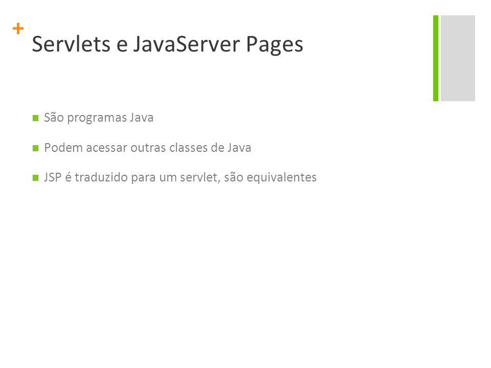 + Servlets e JavaServer Pages São programas Java Podem acessar outras classes de Java JSP é traduzido para um servlet, são equivalentes