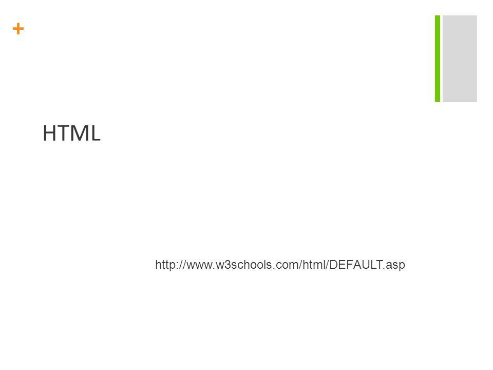 + HTML http://www.w3schools.com/html/DEFAULT.asp