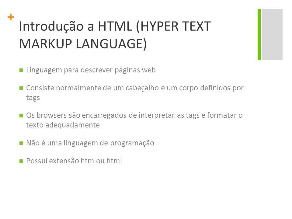 + Introdução a HTML (HYPER TEXT MARKUP LANGUAGE) Linguagem para descrever páginas web Consiste normalmente de um cabeçalho e um corpo definidos por ta