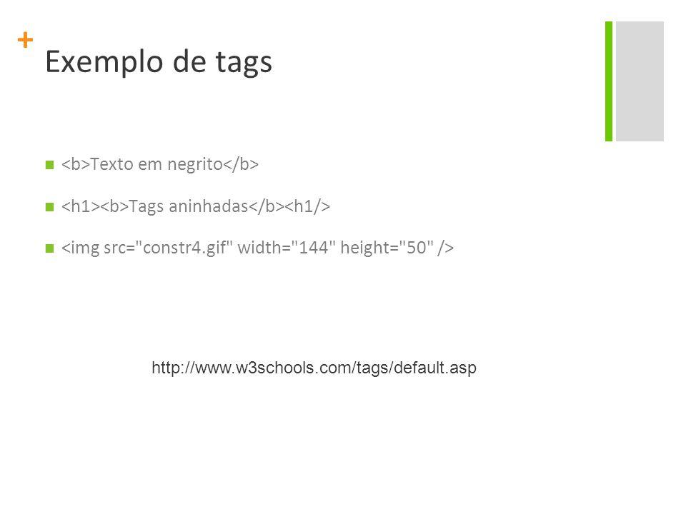 + Exemplo de tags Texto em negrito Tags aninhadas http://www.w3schools.com/tags/default.asp