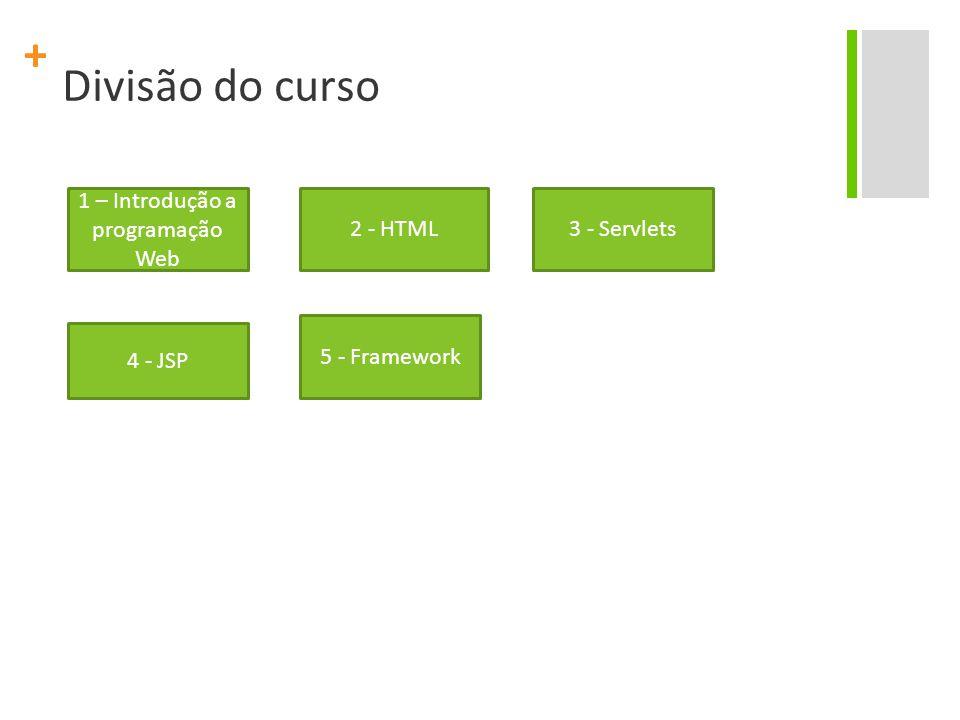 + Divisão do curso 1 – Introdução a programação Web 2 - HTML3 - Servlets 4 - JSP 5 - Framework