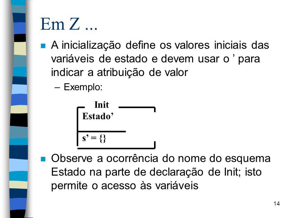 14 Em Z... n A inicialização define os valores iniciais das variáveis de estado e devem usar o ' para indicar a atribuição de valor –Exemplo: n Observ