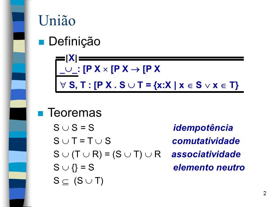2 União n Definição _  _: [P X  [P X  [P X  S, T : [P X. S  T = {x:X | x  S  x  T} [X][X] n Teoremas S  S = S idempotência S  T = T  S comu