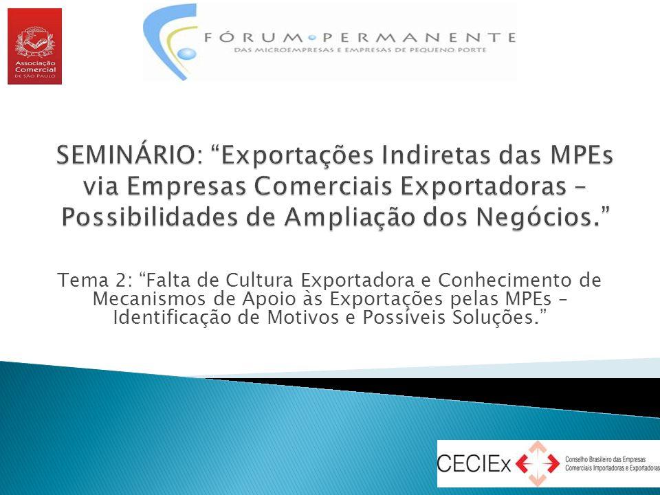 """Tema 2: """"Falta de Cultura Exportadora e Conhecimento de Mecanismos de Apoio às Exportações pelas MPEs – Identificação de Motivos e Possíveis Soluções."""