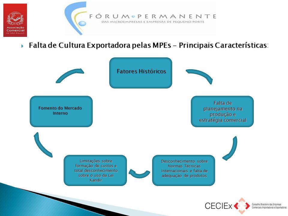  Falta de Cultura Exportadora pelas MPEs - Principais Características  Falta de Cultura Exportadora pelas MPEs - Principais Características: Fatores