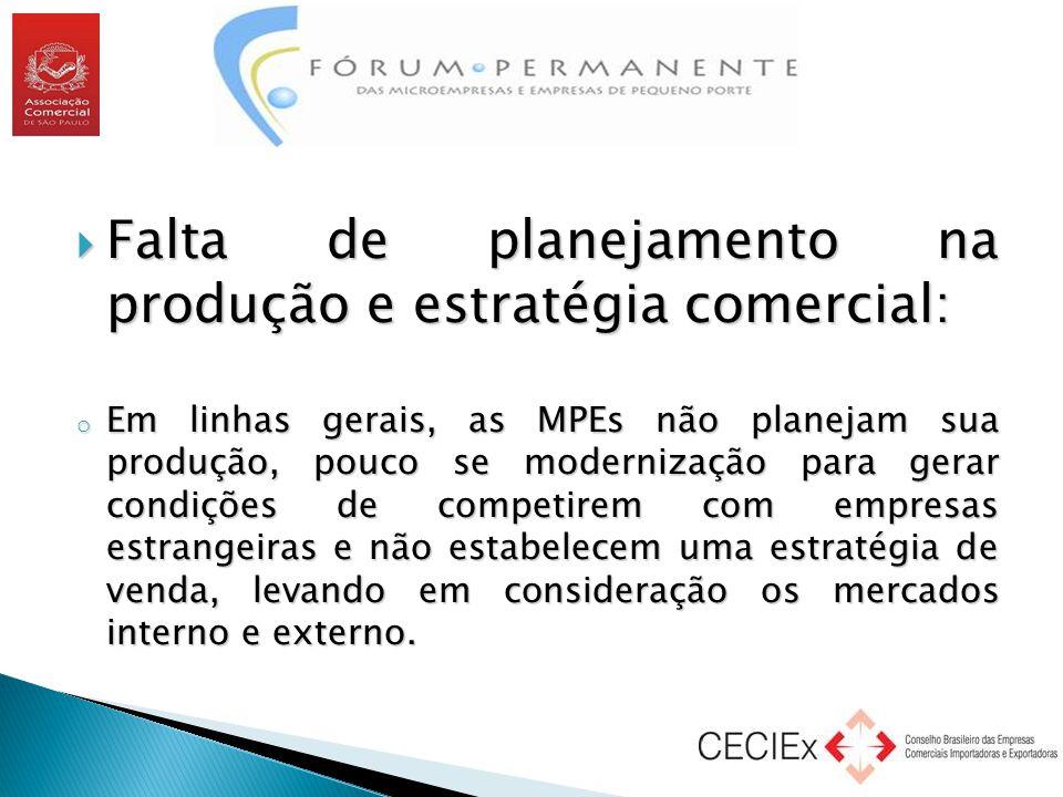 Falta de planejamento na produção e estratégia comercial: o Em linhas gerais, as MPEs não planejam sua produção, pouco se modernização para gerar co