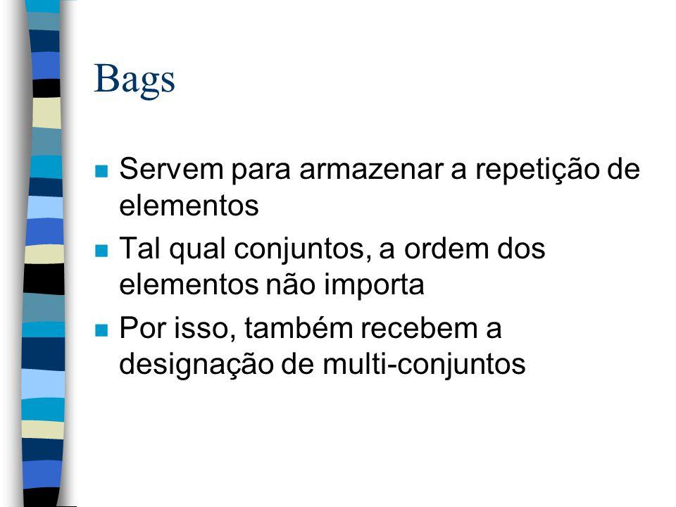 Bags n Servem para armazenar a repetição de elementos n Tal qual conjuntos, a ordem dos elementos não importa n Por isso, também recebem a designação de multi-conjuntos