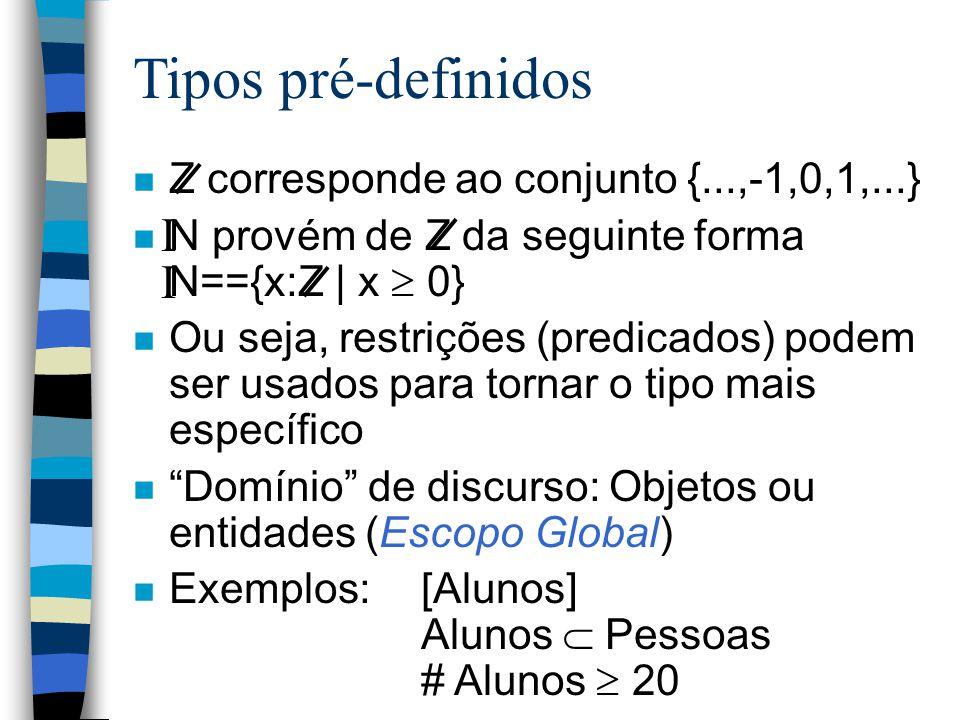 Tipos pré-definidos n Z corresponde ao conjunto {...,-1,0,1,...} n N provém de Z da seguinte forma N=={x:Z | x  0} n Ou seja, restrições (predicados) podem ser usados para tornar o tipo mais específico n Domínio de discurso: Objetos ou entidades (Escopo Global) n Exemplos:[Alunos] Alunos  Pessoas # Alunos  20 I I