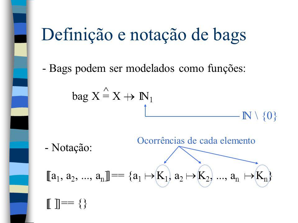 Definição e notação de bags - Bags podem ser modelados como funções: bag X = X  N 1 ^ I N \ {0} I - Notação: [a 1, a 2,..., a n ] == {a 1 K 1, a 2 K 2,..., a n K n } [ ] == {}  [] [ ] Ocorrências de cada elemento