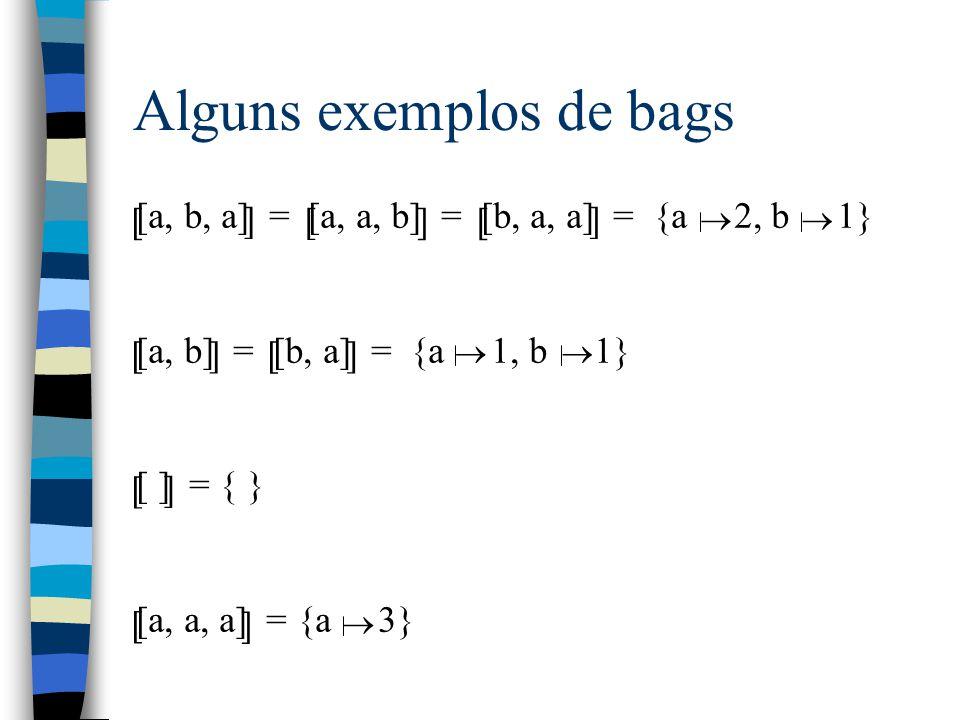 Alguns exemplos de bags [a, b, a] = [a, a, b] = [b, a, a] = {a 2, b 1} [a, b] = [b, a] = {a 1, b 1} [ ] = { } [a, a, a] = {a 3} [ ] [ ][ ]  [ [ [ ] ] ] ] [  