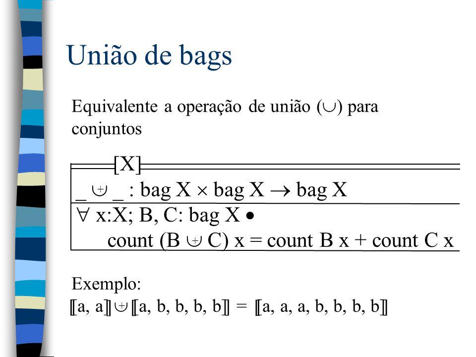 Declarações n Forma geral: –Identificadores: Tipo n Exemplos: –x: N –a 1, a 2 : Aluno n Conjuntos podem ser usados como tipos –Seja Pares == {x: N   2 divide x}, então –a declaração y: Pares equivale a –y: N   y  Pares I I I