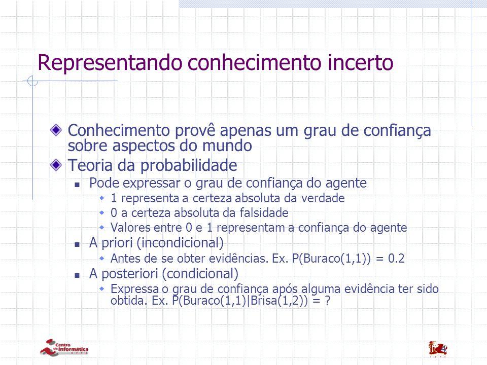 4 Representando conhecimento incerto Conhecimento provê apenas um grau de confiança sobre aspectos do mundo Teoria da probabilidade Pode expressar o g