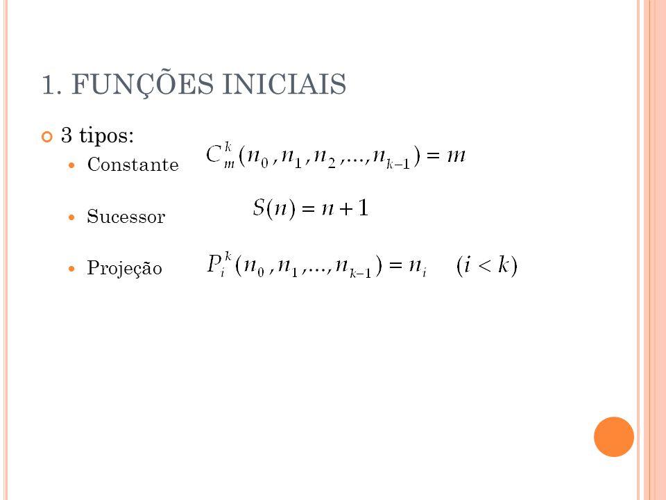 1. FUNÇÕES INICIAIS 3 tipos: Constante Sucessor Projeção