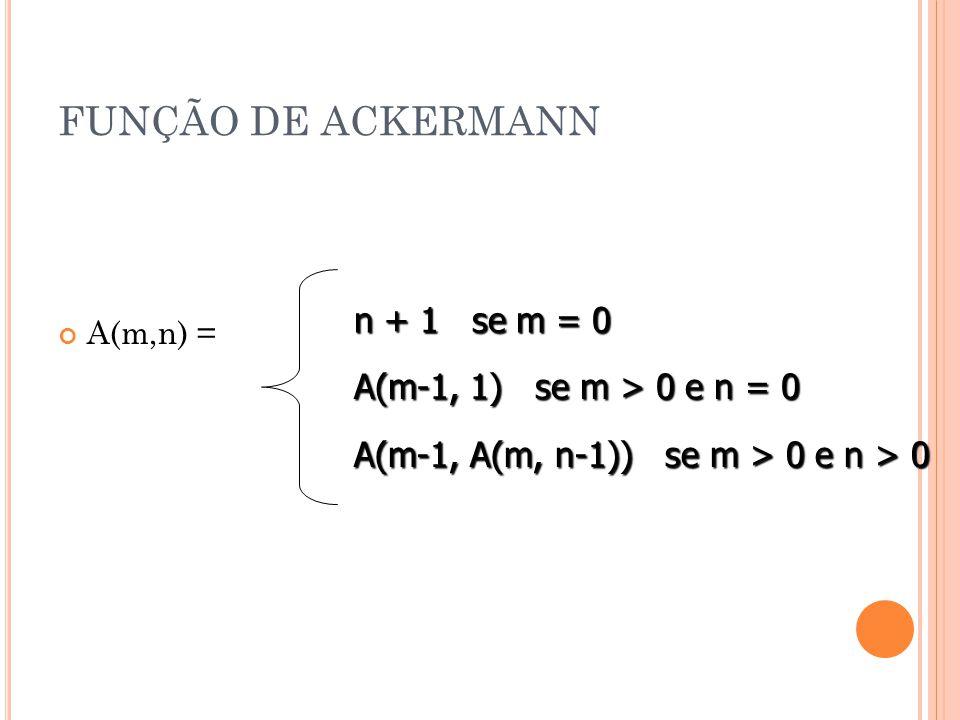 FUNÇÃO DE ACKERMANN A(m,n) = n + 1 se m = 0 A(m-1, 1) se m > 0 e n = 0 A(m-1, A(m, n-1)) se m > 0 e n > 0