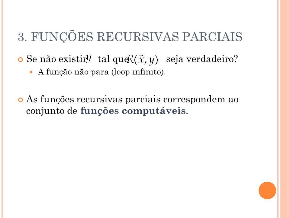 3. FUNÇÕES RECURSIVAS PARCIAIS Se não existir tal que seja verdadeiro? A função não para (loop infinito). As funções recursivas parciais correspondem