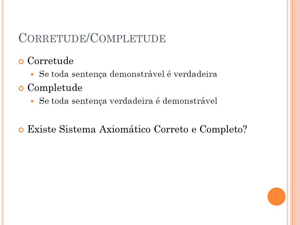 C ORRETUDE /C OMPLETUDE Corretude Se toda sentença demonstrável é verdadeira Completude Se toda sentença verdadeira é demonstrável Existe Sistema Axio