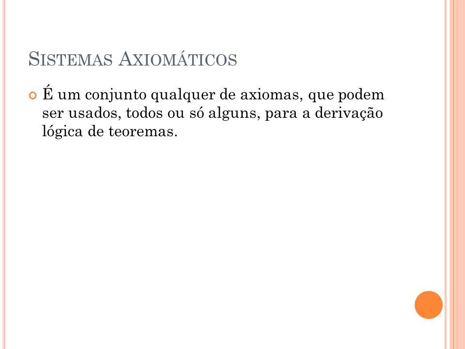 S ISTEMAS A XIOMÁTICOS É um conjunto qualquer de axiomas, que podem ser usados, todos ou só alguns, para a derivação lógica de teoremas.