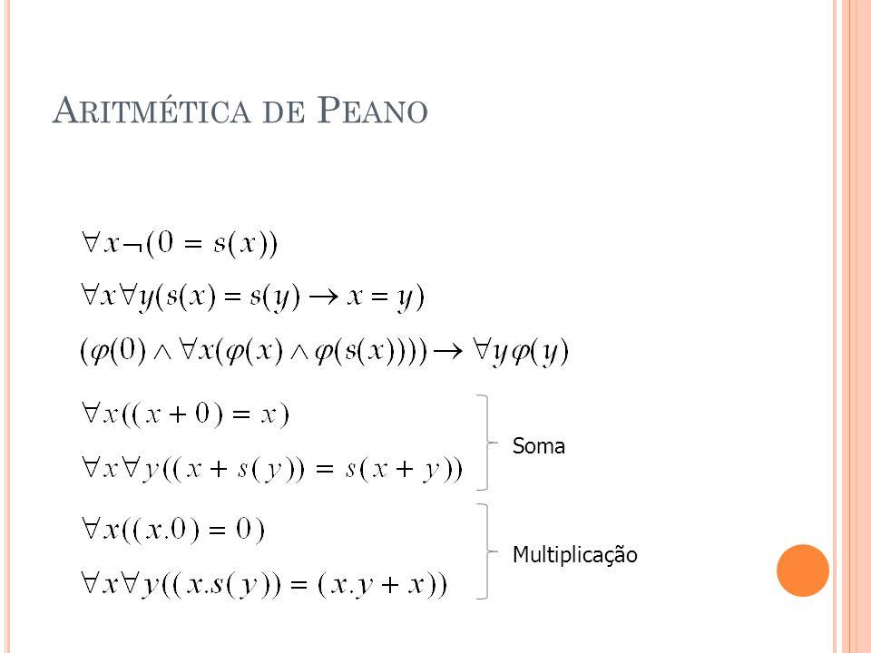A RITMÉTICA DE P EANO Soma Multiplicação