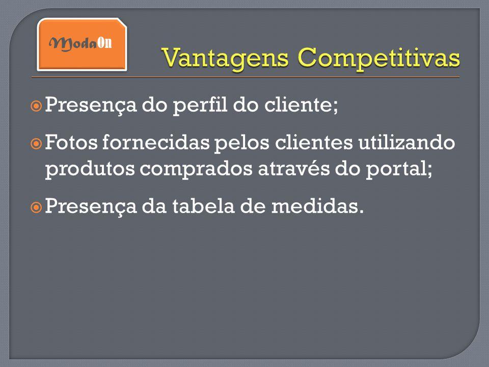  Presença do perfil do cliente;  Fotos fornecidas pelos clientes utilizando produtos comprados através do portal;  Presença da tabela de medidas. M