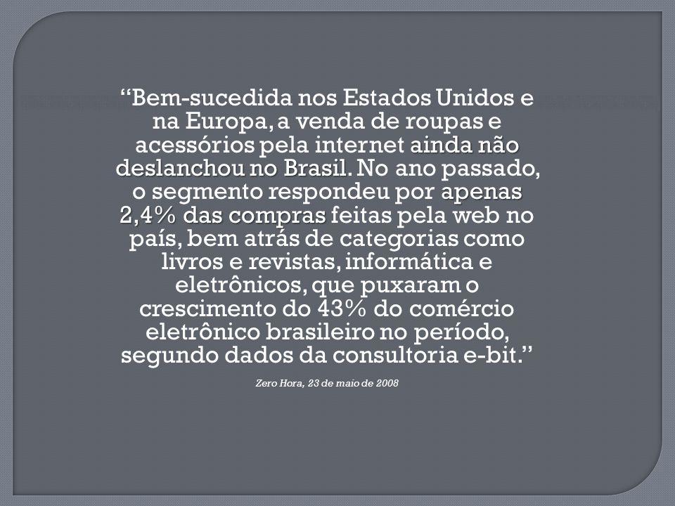 """ainda não deslanchou no Brasil apenas 2,4% das compras """"Bem-sucedida nos Estados Unidos e na Europa, a venda de roupas e acessórios pela internet aind"""