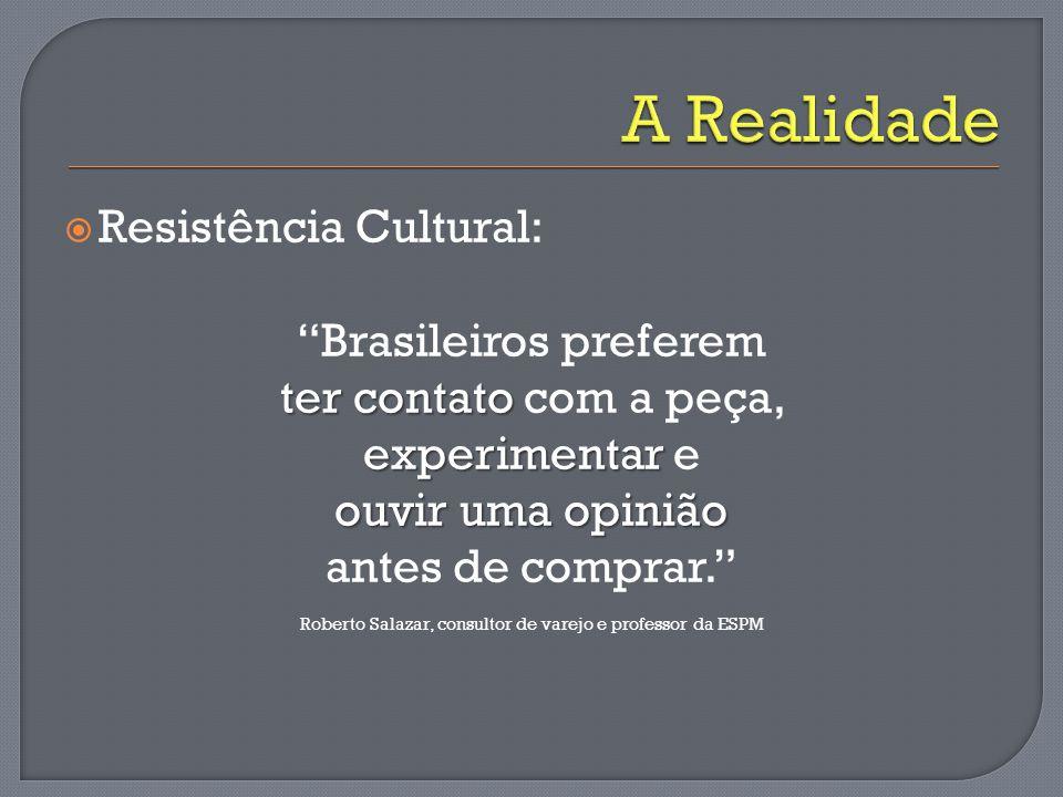 """ Resistência Cultural: """"Brasileiros preferem ter contato ter contato com a peça, experimentar experimentar e ouvir uma opinião antes de comprar."""" Rob"""