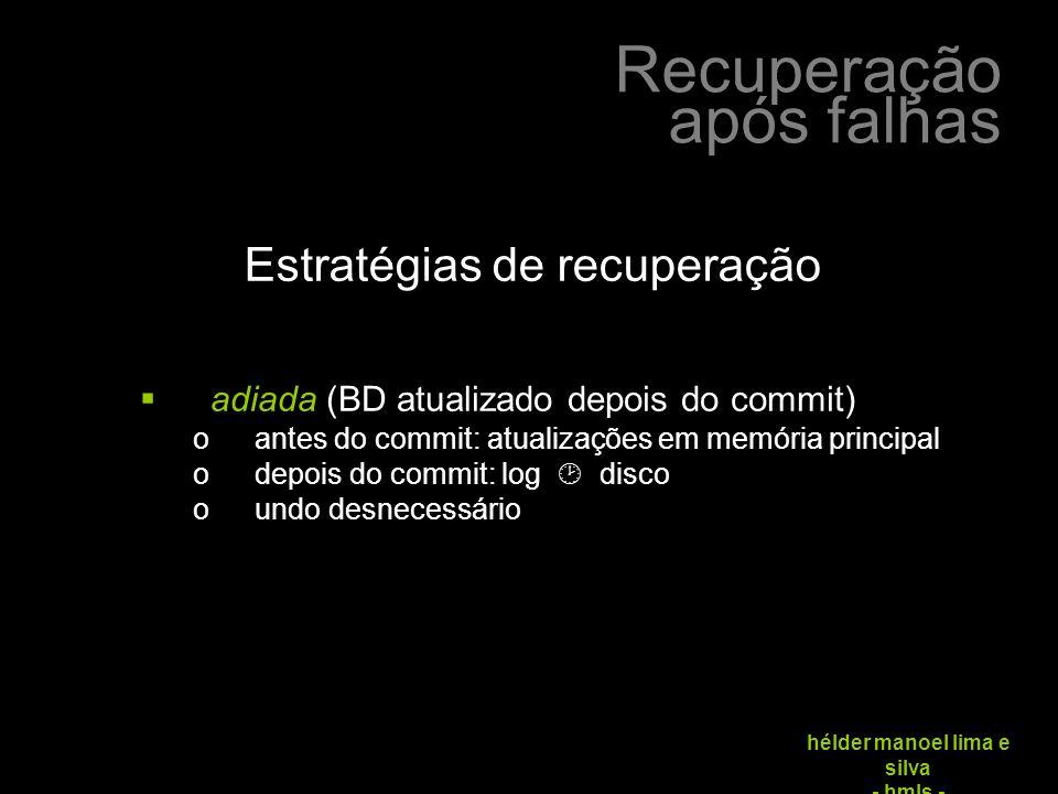 Recuperação após falhas hélder manoel lima e silva - hmls -  adiada (BD atualizado depois do commit) oantes do commit: atualizações em memória principal odepois do commit: log  disco oundo desnecessário Estratégias de recuperação