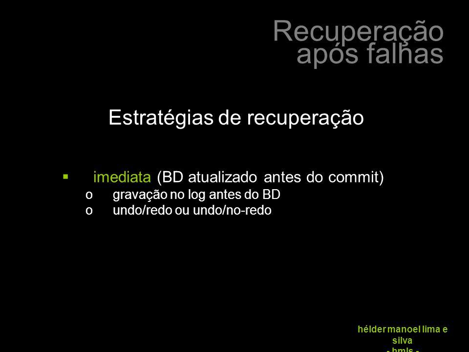 Recuperação após falhas hélder manoel lima e silva - hmls -  imediata (BD atualizado antes do commit) ogravação no log antes do BD oundo/redo ou undo/no-redo Estratégias de recuperação