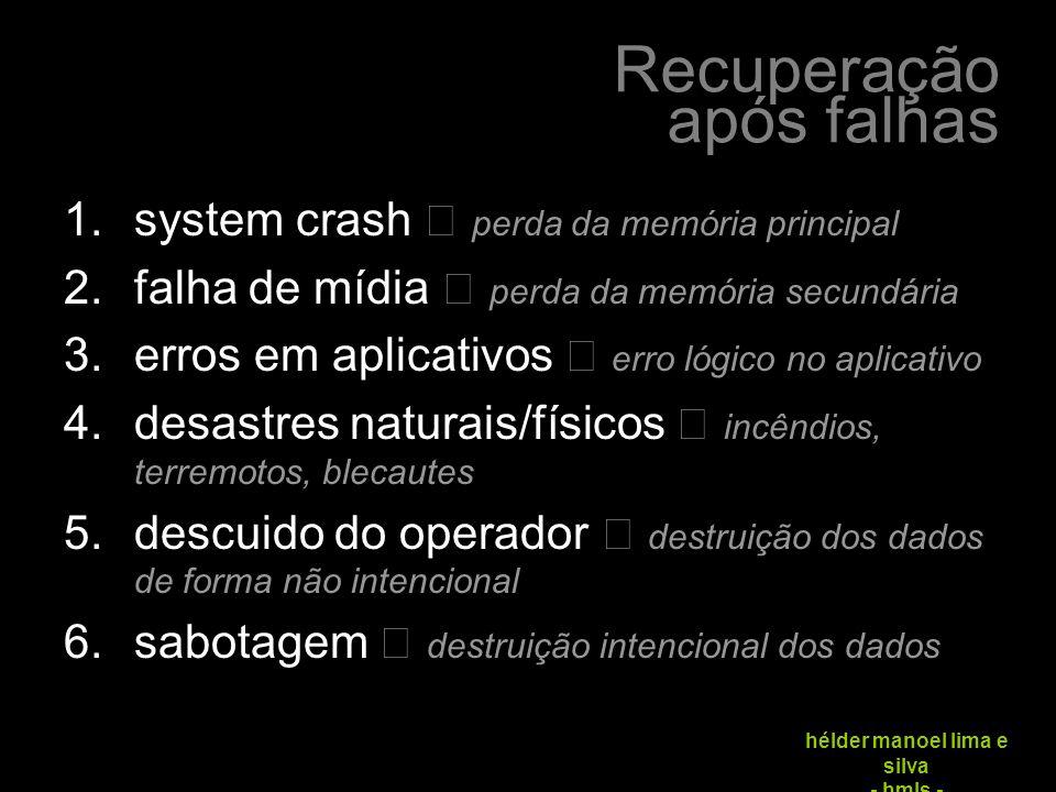 hélder manoel lima e silva - hmls - 1.system crash ▷ perda da memória principal 2.falha de mídia ▷ perda da memória secundária 3.erros em aplicativos ▷ erro lógico no aplicativo 4.desastres naturais/físicos ▷ incêndios, terremotos, blecautes 5.descuido do operador ▷ destruição dos dados de forma não intencional 6.sabotagem ▷ destruição intencional dos dados