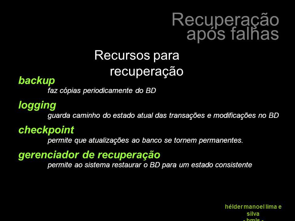 Recuperação após falhas hélder manoel lima e silva - hmls - protocolo: 1.
