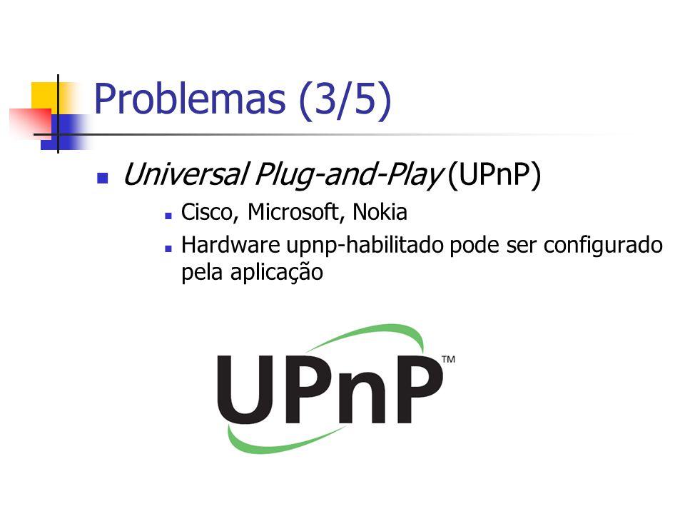 Problemas (3/5) Universal Plug-and-Play (UPnP) Cisco, Microsoft, Nokia Hardware upnp-habilitado pode ser configurado pela aplicação