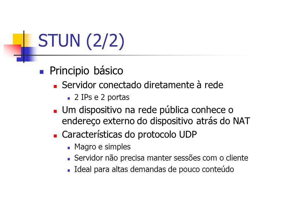 STUN (2/2) Principio básico Servidor conectado diretamente à rede 2 IPs e 2 portas Um dispositivo na rede pública conhece o endereço externo do dispos